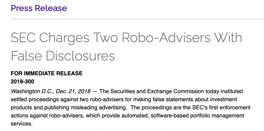 SEC Charges Two Robo-Advisers for false disclosures